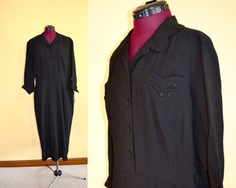 NOS 1940s Vintage Plus Size Charles Hymen Black Dress size XL bust 44 - with tags