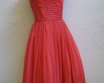 "1950's Dark Pink Chiffon Party Dress - 24"" Waist"
