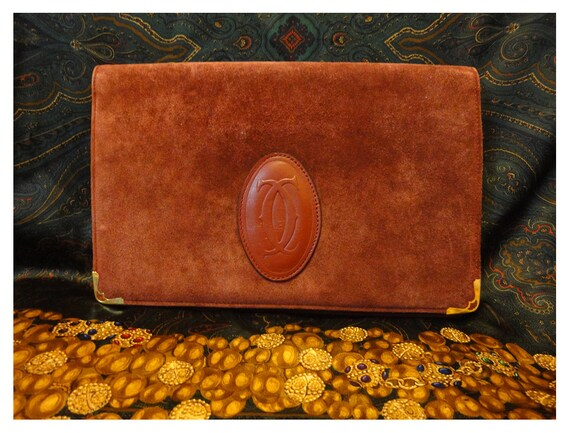 Vintage Cartier suede document clutch purse with embossed logo. A rare purse from must de Cartier collection