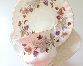 Vintage English Tea Cup & Saucer by Royal Albert Lorraine Pattern Tea Party Montrose Shape Ca. 1960's - 1970's