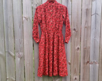 S M Small Medium Vintage 70s 80s Long Sleeve Button Up Red Brown Floral Print Fall Dress