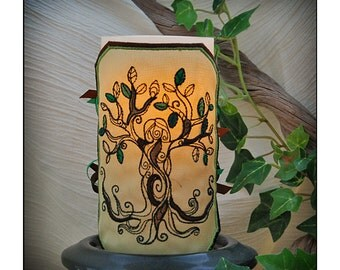 Summer Tree Goddess Embroidered Candle Wrap For LED Flameless Pillar Candles.