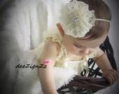 Hair Accessories-Baptism Headband-Ivory-Petti Lace -Flower Headband-Wedding-Flowers for Hair-Bridesmaid-Flower Girl-Infant-Baby-Christening