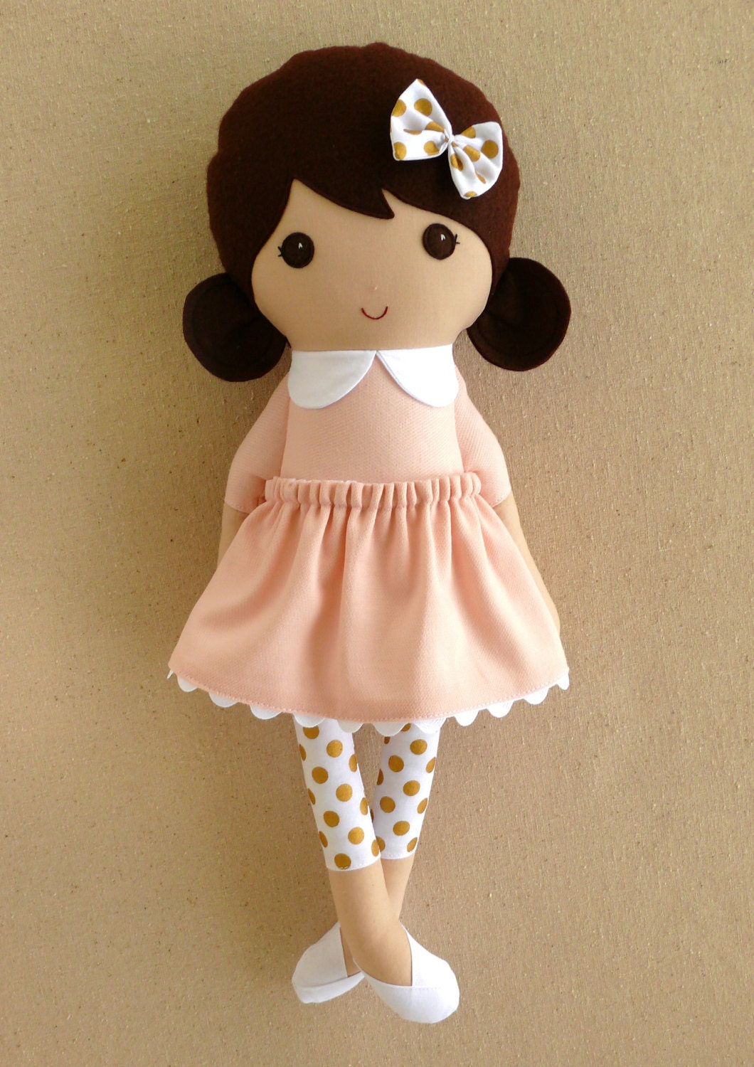 Fabric Doll Rag Doll Brown Haired Girl In Sweet Pink Dress And