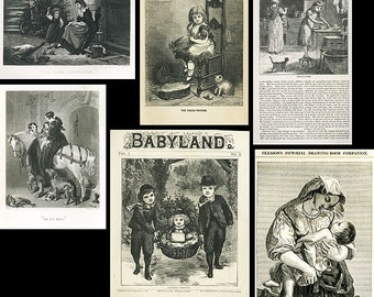MOTHERS...6 Tender and Lovely Antique Prints /3 Steel Engravings/3 Wood Engravings 19th Century from TransferofTreasures