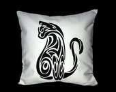 """18""""x18""""  Tribal Cat // Cat Silhouette // Cat Lover Pillow COVER"""