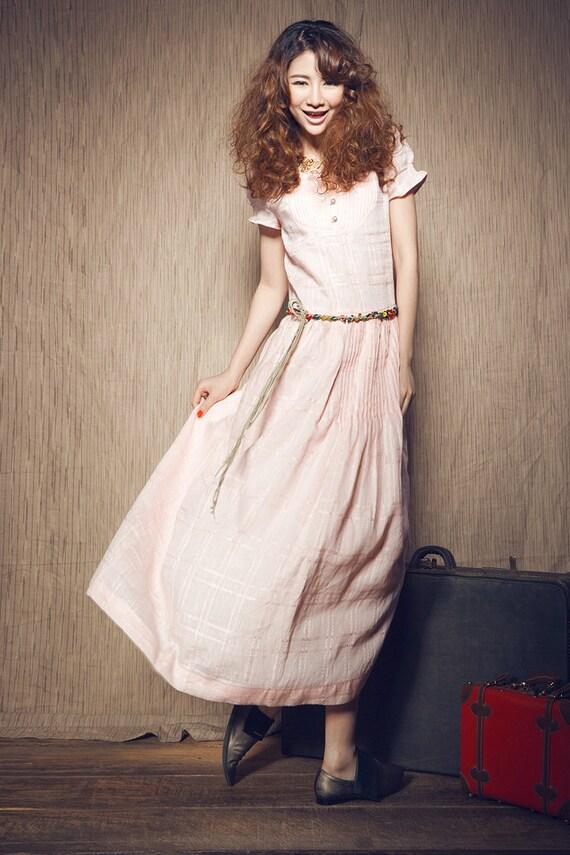 I L Left on Sale -  Linen Cocktail Dress in Pink