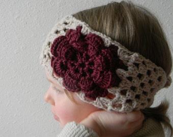 Crochet pattern - Elnara Warmer, Crochet Granny Square Headband, Crochet Headband with Flower, toddler,child,adult,crochet headband pattern
