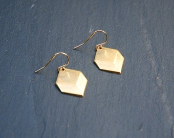 SALE 50% OFF Gold diamond earrings, minimalist earrings, brass squares, goldfill earwires, modern geometric jewelry, gold earrings - monroe