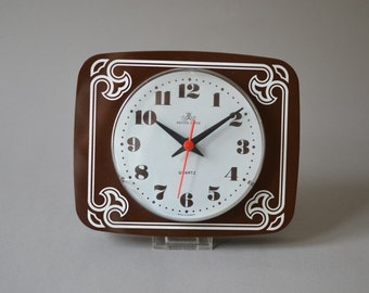 Vintage wall clock Meister Anker German pottery brown kitchen office Made in Germany 70s