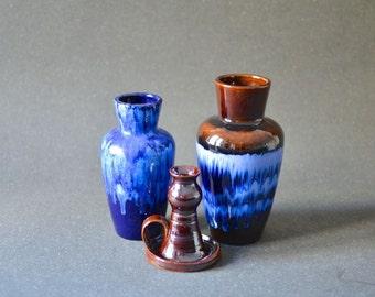 Vintage instant collection vase West German pottery blue Scheurich 60s Modern Mid-Century