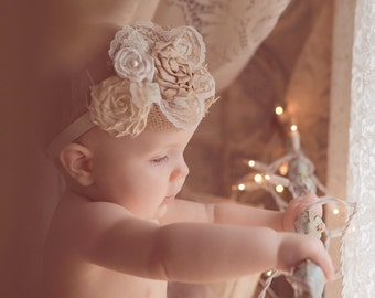 burlap flower headband, Ivory and beige flower headbands, shabby headband, Rustic flower headband