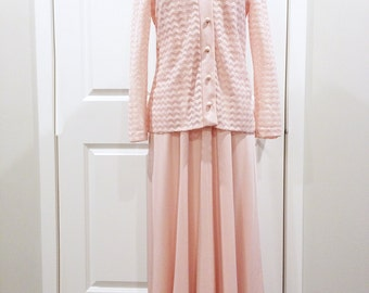 Vintage 70s pink cocktail dress/ prom gown/ pink long party dress with lace jacket/ formal evening dress/ empire waist maxi dress
