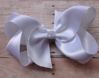 White satin boutique bow  - white satin hair bow, 4 inch bow, satin bow