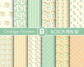 Digital Paper Peach Flowers Digital Scrapbooking Paper Pack, Orange & Green Floral Papers - INSTANT DOWNLOAD - 1764