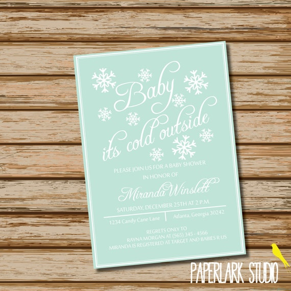 Baby It's Cold Outside /// Winter Snowflake /// Baby Shower Invitation