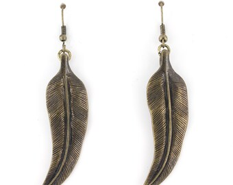 Vintage Feel Retro Gold-tone Leaf Drop Dangle Earrings,B6