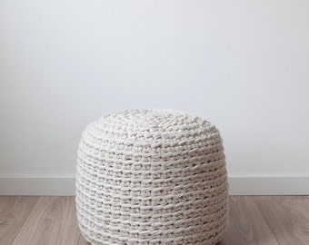 Ecru crocheted pouf