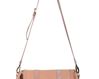 EVERMORE SMALL. Nude leather cross body purse / crossbody leather satchel bag / small messenger bag. Available in different leather colors