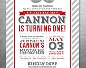 Little Man Mustache Birthday Invitation, Photo Card, 5x7, Printable and Customizable #124