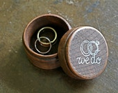 """Wedding ring box.  Rustic wooden ring box, ring bearer accessory, ring warming.  Small round ring box with """"we do"""" design in white."""