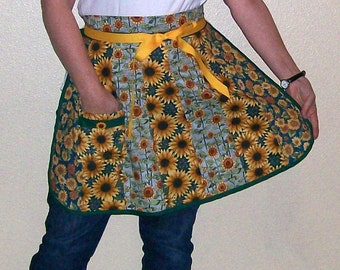 Sunflower Patchwork Half Apron-One Size