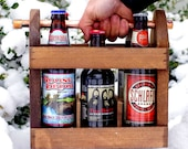 Beer - Best Man Gift -Home Brew Six Pack Carrier - Wooden Six Pack - Beer Caddy - Bottle Opener  - Men - Groomsmen Gift