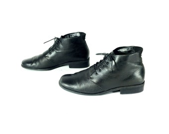 Leather Ankle Boots 8 - Lace Up Oxford Boots 8 - Black Leather Ankle Boots 8 - Riding Boots 8