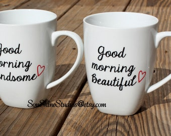 Good Morning Beautiful/Handsome Cup Set - Choice of Colors