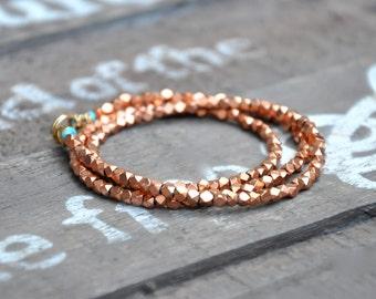 African Copper Bead Leather Wrap Bracelet