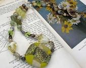 Copal Necklace - Heather Wynn pendant - yellow cream tans - SakI Silver clasp - spring necklace