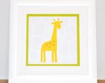 INSTANT DOWNLOAD  Cartoon Safari Illustrated Art Prints, Baby Nursery, Children's Play Room or Party Set of 3 // Giraffe / Elephant / Turtle