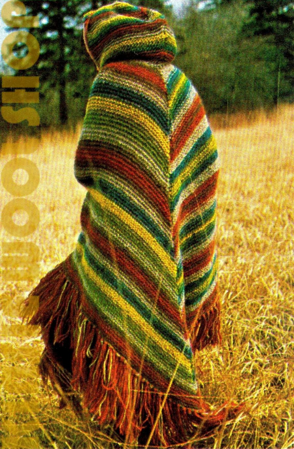 Vintage 70s Knitted Hooded Cape Pdf Pattern