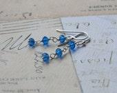 Sapphire Blue Silver Dangle Earrings - September Birthstone Earrings - Long Crystal Earrings