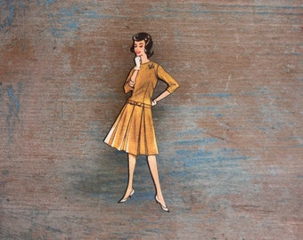 Fabulous Fashion Brooch, Mustard Mod Dress, 1960s Fashion, Wooden Brooch