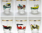 Set of 6 Vintage Novelty Shot Glasses Featuring Cars