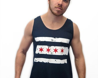 Retro Chicago Flag Tank Top Chi-Town The Windy City Illinois Pride Vintage Novelty Pop Culture Humor Tank Tee Shirt Tshirt S-2XL