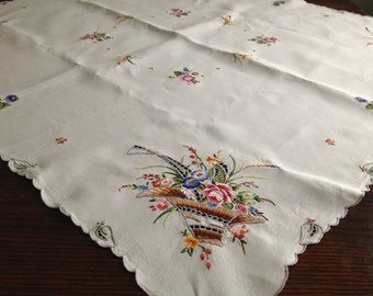 French Vintage Heirloom Floral Hand Embroidered White Cotton Linen Tablecloth