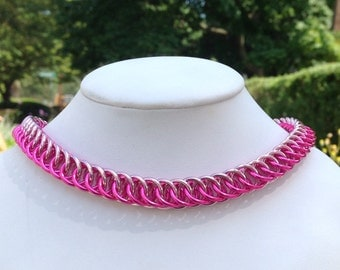 Double Pink Half Persian Dog / Cat  Chainmaille Collar with or without Breakaway Safety Clasp - Ready To Ship