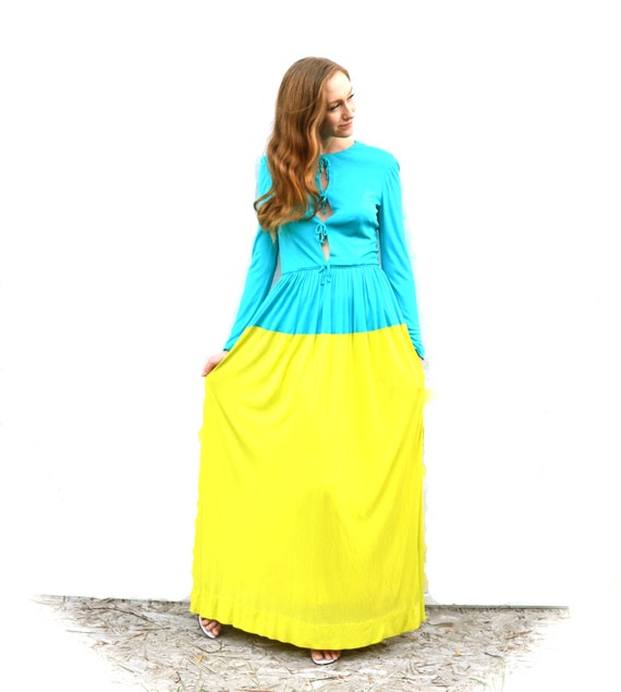 1960s Mollie Parnis Two Tone Dress - Retro Mod Teal Yellow Triple Keyhole Tropical Tequila Sunrise Blue Curacao Cocktail Party Designer Maxi