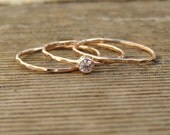 Stackable Birthstone Rings- Choose a Stone Birthstone, Silver, 14k Gold Fill, or solid  Rose Yellow or White 14k gold- Handmade to order