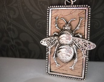 Beetle Necklace, Statement Necklace, Steampunk, Nature, Insect