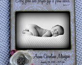 Baby Girl 5X7 Photo Frame- Personalized with Name and Birth Stats - Flowers Bible Verse James 1:17