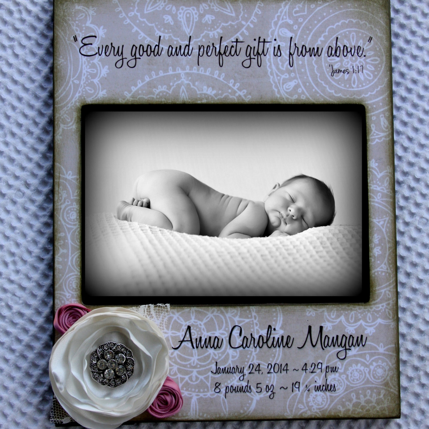 Baby Girl 5x7 Photo Frame Personalized With Name And Birth