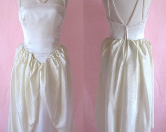 1980's French Wedding dress sateen and taffetas one of a kind