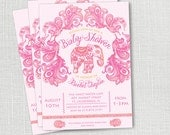 PINK INDIAN ELEPHANT baby girl shower invitation pink and orange paisley invite diy printable invitation or printed invite