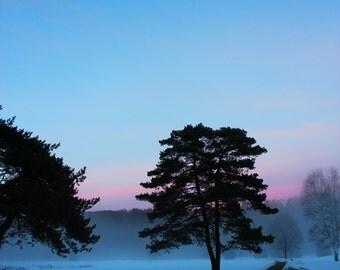 Foggy Winter Snow Scene in Upstate New York 10x13