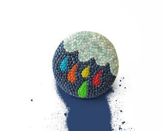 "Mosaic ring / OOAK polymer clay ring, spring rain, rain ring, mosaic art, fun jewelry / ""Happy Rain"""
