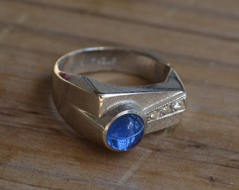 Beautiful antique retro art deco sterling silver mens ring with sapphire blue paste gem