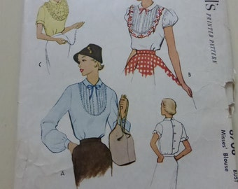 Vintage McCalls Pattern 8708 Misses Blouse Size 14